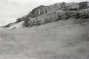 Dutch dunes with defense barbwire 1950s
