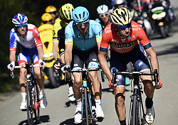 April 18, 2018 - Huy, BELGIUM - French Anthony Roux of FDJ, Australian Jack Haig of Mitchelton - Scott, Estonian Tanel Kangert of Astana Pro Team and Italian Vincenzo Nibali of Bahrain-Merida pictured in action during the 82nd edition of the men's race of 'La Fleche Wallonne', a one day cycling race (Waalse Pijl - Walloon Arrow), 198,5km from Seraing to Huy, Wednesday 18 April 2018. BELGA PHOTO ERIC LALMAND (Credit Image: © Eric Lalmand/Belga via ZUMA Press)