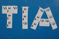 © Licensed to London News Pictures. 08/08/2012 .Tias name made out of missing posters on boarding near Croydon Rugby Club on the Kentgate Way near New Addington..12 years old Tia Sharp has been missing from the Lindens on The Fieldway Estate in New Addington,Croydon,Surrey since Friday last week. .Photo credit : Grant Falvey/LNP