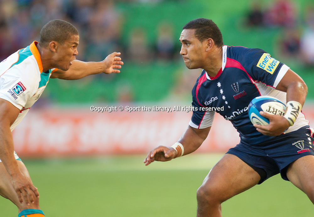 Eddie Aholelei (Rebels)<br /> Rugby Union - Super Rugby: Rebels vs Cheetahs<br /> AAMI Park, Melbourne Sunday March 18, 2012<br /> &copy; Sport the library/ Lucas Wroe