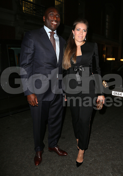 Sol Campbell and wife Fiona Barratt attend the Inspiration Awards for Women at Cadogan Hall in London, UK. 02/10/2014<br />