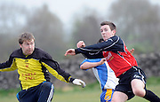 Goalie Creaven Kiltullagh does enough to put off  Davey Mahon Kinvara FC in Kiltullagh, Galway. Photo:Andrew Downes