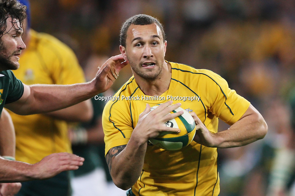 Quade Cooper during the Tri-Nations rugby Test at Suncorp Stadium in Brisbane,  July 24, 2010. The Wallabies defeated the world champion Springboks to win the first Tri-nations rugby Test 30-13. Photo: Patrick Hamilton/Photosport