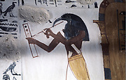 Ibis-headed god Thoth, secretary to the gods and patron of scribes:  wall painting from Tombs of the Nobles, Thebes