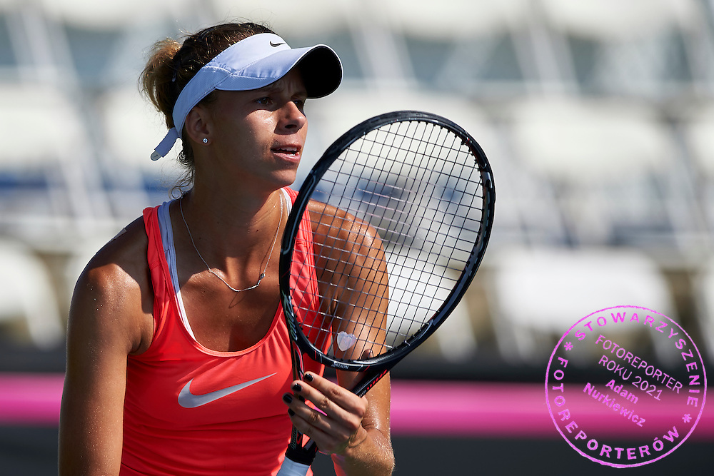 KAILUA KONA, USA - 2016 FEBRUARY 03: Magda Linette of Poland watches the ball while her training session on three days before the Fed Cup / World Group II 1st round tennis match between USA and Poland on February 03, 2016 at Holua Tennis Center in Kailua Kona, USA.<br /> <br /> Picture also available in RAW (NEF) or TIFF format on special request.<br /> <br /> Any editorial, commercial or promotional use requires written permission from the author of image.<br /> <br /> Adam Nurkiewicz declares that he has no rights to the image of people at the photographs of his authorship.<br /> <br /> Mandatory credit:<br /> Photo by &copy; Adam Nurkiewicz / Mediasport