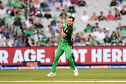 14th January 2019, Melbourne Cricket Ground, Melbourne, Australia; Australian Big Bash Cricket, Melbourne Stars versus Hobart Hurricanes;  Evan Gulbis of the Melbourne Stars juggles the ball after bowling