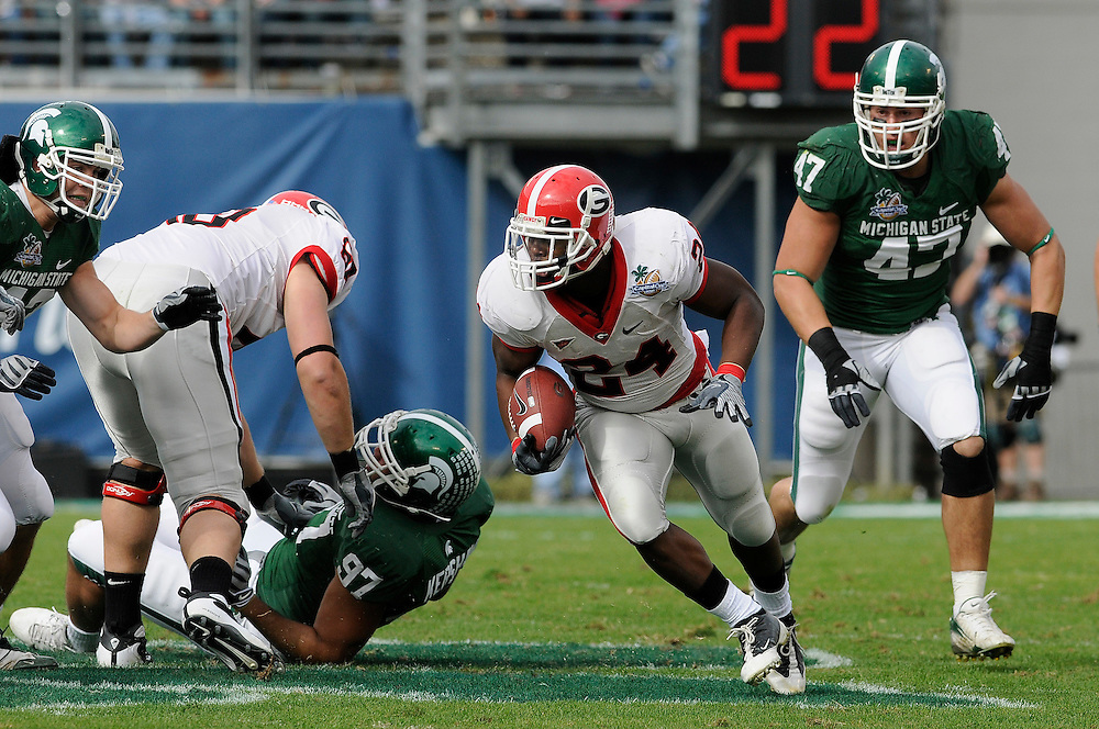 January 1, 2009: Knowshon Moreno of the Georgia Bulldogs in action during the NCAA football game between the Michigan State Spartans and the Georgia Bulldogs in the Capital One Bowl. The Spartans were leading the Bulldogs 6-3 at halftime.