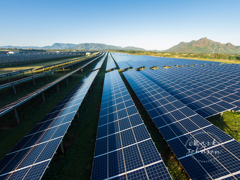 Aerial photograph of solar panels in the KRS1 Anahola Solar Farm, Anahola, Kauai, Hawaii