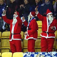 Livingston v St Johnstone   15.12.01<br />St Johnstone fans in festive mood<br /><br />Pic by Graeme Hart<br />Copyright Perthshire Picture Agency<br />Tel: 01738 623350 / 07990 594431