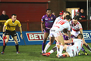 Hull Kingston Rovers thwart a Giants attack  during the Betfred Super League match between Hull Kingston Rovers and Huddersfield Giants at the Hull College Craven Park  Stadium, Hull, United Kingdom on 21 February 2020.