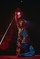 British singer Rod Stewart performing on stage, circa 1975.