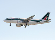 Alitalia Airbus A319-112. Photographed at Linate airport, Milan, Italy
