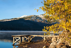 """Donner Lake Morning 19"" - Photograph of a foggy Donner Lake and a dock shot early on an autumn morning."