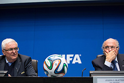 21.03.2014, Home of FIFA, Zuerich, SUI, FIFA, Pressekonferenz des Exekutivkomitee, im Bild Theo Zwanziger (L), FIFA Praesident Joseph Sepp Blatter // during a press conference of the FIFA Executive Committee at the Home of FIFA in Zuerich, Switzerland on 2014/03/21. EXPA Pictures © 2014, PhotoCredit: EXPA/ Freshfocus/ Andreas Meier<br /> <br /> *****ATTENTION - for AUT, SLO, CRO, SRB, BIH, MAZ only*****