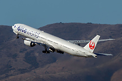 Boeing 777-346(ER) (JA732J) operated by Japan Airlines with the Oneworld livery departing San Francisco International Airport (KSFO), San Francisco, California, United States of America