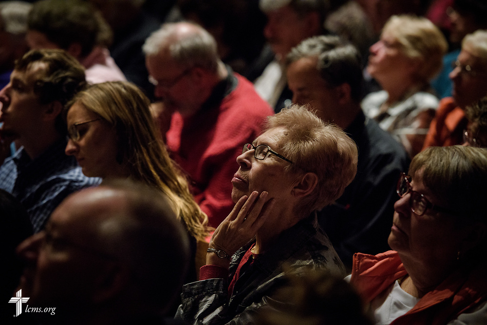 Attendees listen during The Reformation at 500: An Interdenominational Conversation, on Monday, Oct. 30, 2017, at Chapel of Our Lord at Concordia University Chicago in River Forest, Ill. Featured presenters were Cardinal Blase J. Cupich, Archdiocese of Chicago, the Rev. Dr. Matthew C. Harrison, president of the LCMS, and the Rev. Dr. Philip Ryken, president of Wheaton College. The moderator was Manya Brachear Pashman, religion correspondent for the Chicago Tribune. LCMS Communications/Erik M. Lunsford