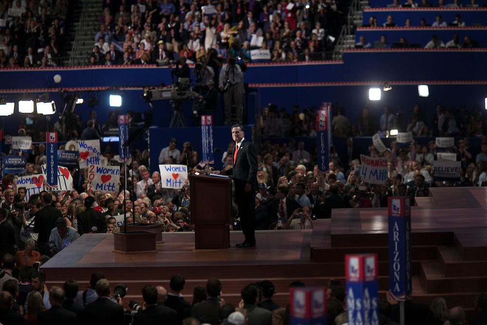 Mitt Romney speaks at the RNC in Tampa, FL, on Thursday, Aug. 30, 2012. ..Photograph by Andrew Hinderaker.