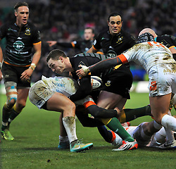 George North of Northampton Saints takes on the Treviso defence - Photo mandatory by-line: Patrick Khachfe/JMP - Mobile: 07966 386802 13/12/2014 - SPORT - RUGBY UNION - Northampton - Franklin's Gardens - Northampton Saints v Treviso - European Rugby Champions Cup