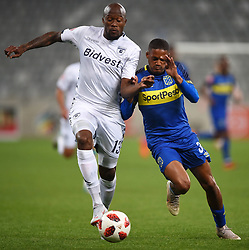 Cape Town-181002- Bidvest Wits  defender Sfiso Hlanti challenge Cape Town City's Craig Martin  in a PSL clash at the Cape Town stadium.Wits are fighting to get back the top spot after poor display in their last two games .Photographs:Phando Jikelo/African News Agency/ANA