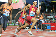 Noah Lyles (USA), left, defeats Michael Norman (USA), center, and Rai Benjamin (ANT) to win the 200m in 19.69 in the 2018 Athletissima in an IAAF Diamond League meeting at Stade Olympique de la Pontaise in Lausanne, Switzerland on Thursday, July 5, 2018. Norman was second in 19.88 and Benjamin was fourth in 20.16.  (Jiro Mochizuki/Image of Sport)