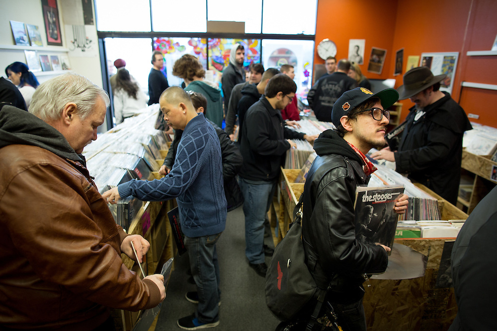 Obsession Records in Anchorage, Alaska, which opened just over four months ago, celebrates its first Record Store Day on April 18, 2015. According to owners Steve and Verna Haynes, the day was easily their busiest to date. Photo by Ash Adams.
