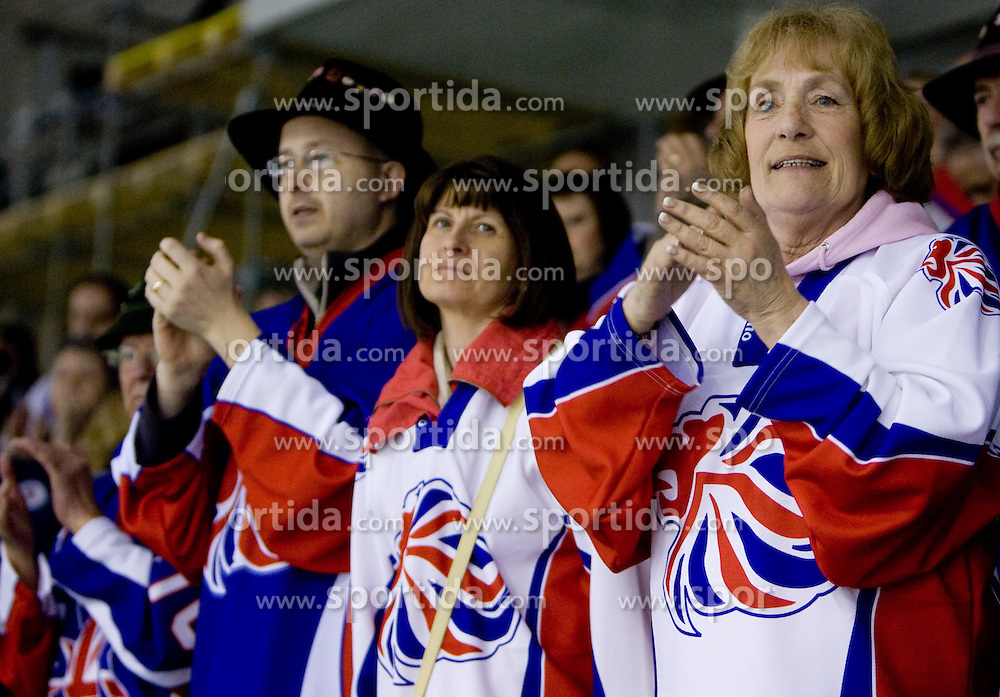 Fans of Great Britain after the IIHF Ice-hockey World Championships Division I Group B match between National teams of Croatia and Great Britain, on April 17, 2010, in Tivoli hall, Ljubljana, Slovenia. (Photo by Vid Ponikvar / Sportida)