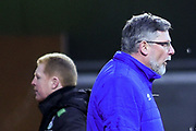 Neil Lennon and Craig Levein during the William Hill Scottish Cup 4th round match between Heart of Midlothian and Hibernian at Tynecastle Stadium, Gorgie, Scotland on 21 January 2018. Photo by Kevin Murray.