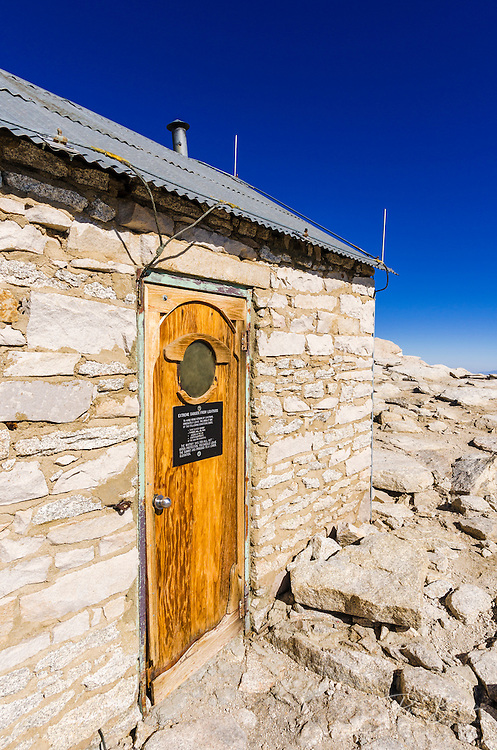 The summit hut on Mount Whitney, Sequoia National Park, Sierra Nevada Mountains, California USA