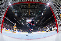 REGINA, SK - MAY 25: Nick Henry #21 of Regina Pats celebrates a goal against the Hamilton Bulldogs at the Brandt Centre on May 25, 2018 in Regina, Canada. (Photo by Marissa Baecker/CHL Images)