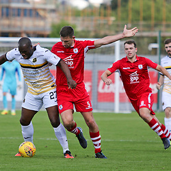 Christian Nade and George Horan battle in midfield during the Dumbarton v Connah's Quay Nomads Irn Bru cup second round 2 september 2017<br /> <br /> <br /> <br /> <br /> (c) Andy Scott | SportPix.org.uk