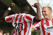 Amari Morgan-Smith celebtates his first goal during the Vanarama National League match between Cheltenham Town and Southport at Whaddon Road, Cheltenham, England on 15 August 2015. Photo by Antony Thompson.