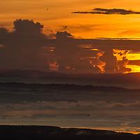 Sunset over Darvel Bay, Gunung Silam, Sabah, Malaysia, Borneo, South East Asia.
