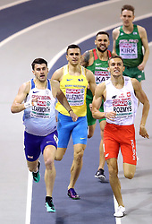 Great Britain's Guy Learmont (left) in the 800m Men Heat 2 during day one of the European Indoor Athletics Championships at the Emirates Arena, Glasgow.