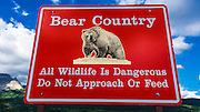 Bear country warning sign, Glacier National Park, Montana USA