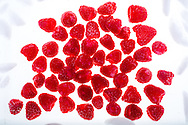Ultra-sweet raspberries in ice water