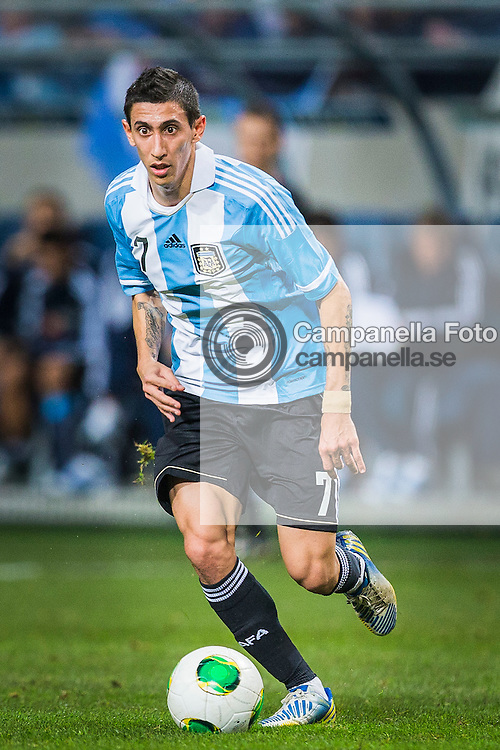 Solna 2013-02-06: <br /> <br /> Argentina 7 Angel Di Maria in action against Sweden during an international friendly match between Sweden and Argentina. <br /> <br /> (Photo: Michael Campanella / Pic-Agency)