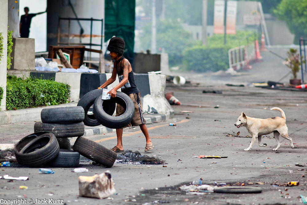 18 MAY 2010 - BANGKOK, THAILAND: A dog follows an anti government protester building a tire barricade at Din Daeng Intersection in Bangkok Tuesday. The intersection has been under periodic sniper fire from unidentified snipers near Thai military lines. Violent unrest continued in Bangkok again Tuesday nearly a week after Thai troops started firing on protesters and Bangkok residents took to the streets in violent protest against the government. Tuesday was not as violent as previous days however. Although protesters continued to set up roadblocks and flaming tire barricades across parts of the city, there was not as much gunfire from the government lines. The most active protesters were at the Din Daeng Intersection about a mile from the Red Shirts' Ratchaprasong camp.  PHOTO BY JACK KURTZ