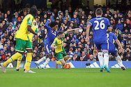 Robbie Brady of Norwich is fouled by Willian of Chelsea but no penalty is awarded by Referee Craig Pawson during the Barclays Premier League match at Stamford Bridge, London<br /> Picture by Paul Chesterton/Focus Images Ltd +44 7904 640267<br /> 21/11/2015