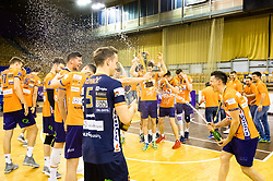 Players of ACH Volley celebrate during 3rd Leg volleyball match between ACH Volley and OK Calcit Volley in Final of 1. DOL Slovenian National Championship 2017/18, on April 24, 2018 in Hala Tivoli, Ljubljana, Slovenia. Photo by Matic Klansek Velej / Sportida