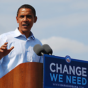 U.S. Sen. Barack Obama (D-IL), addresses the crowd at his Detroit rally, in front of the Detroit Public Library on Sunday, September 28, 2008.