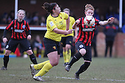 Renee Hector and Fliss Gibbons challenge for the ball during the Women's FA Cup match between Watford Ladies FC and Brighton Ladies at the Broadwater Stadium, Berkhampstead, United Kingdom on 1 February 2015. Photo by Stuart Butcher.