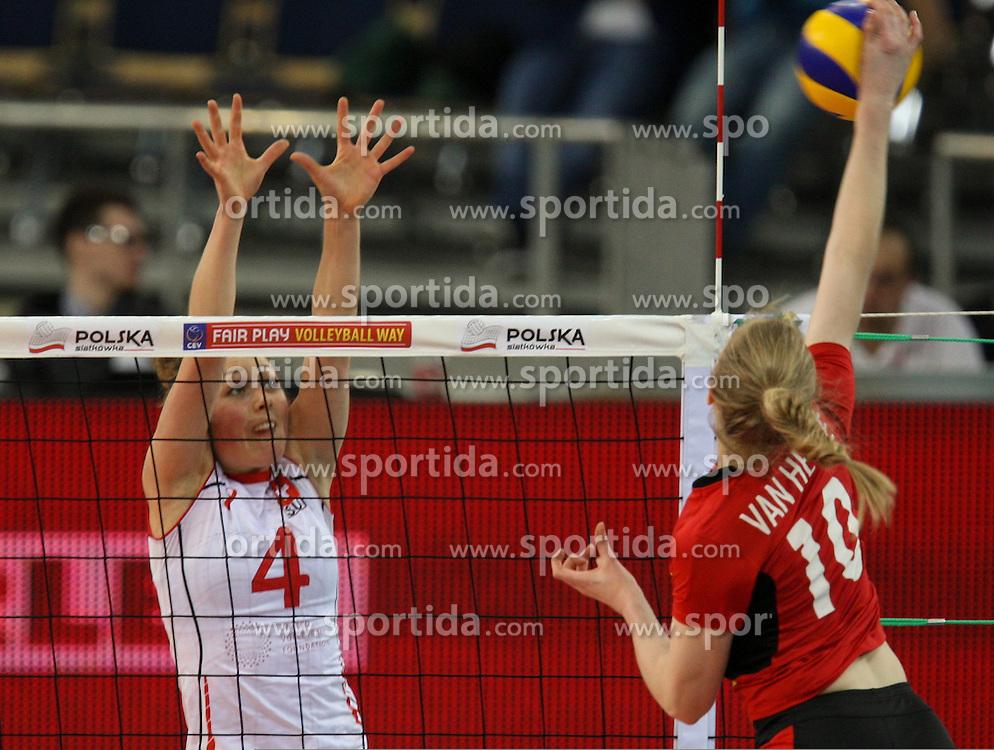 04.01.2014, Atlas Arena, Lotz, POL, FIVB, Damen WM Qualifikation, Belgien vs Schweiz, im Bild Elena STEINEMANN (SUI), Lise VAN HECKE (BEL) // Elena STEINEMANN (SUI), Lise VAN HECKE (BEL) during the ladies FIVB World Championship qualifying match between Belgium and Switzerland at the Atlas Arena in Lotz, Poland on 2014/01/05. EXPA Pictures &copy; 2014, PhotoCredit: EXPA/ Newspix/ Tomasz Jastrzebowski<br /> <br /> *****ATTENTION - for AUT, SLO, CRO, SRB, BIH, MAZ, TUR, SUI, SWE only*****