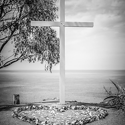 Catalina Island cross black and white photo.  The Catalina cross overlooks the city of Avalon California and is used for weddings and other ceremonies.