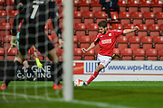 Swindon Town Midfielder, John Goddard (10) with a shot at goal during the EFL Sky Bet League 1 match between Swindon Town and Northampton Town at the County Ground, Swindon, England on 27 September 2016. Photo by Adam Rivers.
