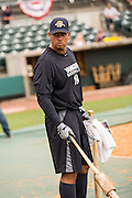 New York Yankees Alex Rodriguez during batting practice before appearing in the first game since hip surgery with the minor league Charleston RiverDogs at Joseph P. Riley Jr. Stadium July 2, 2013 in Charleston, South Carolina.