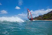 Windsurfing off Diamond Head, Honolulu, Oahu, Hawaii