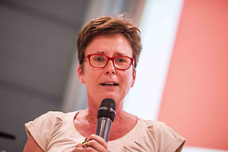 "July 26, 2018 - Munich, Bavaria, Germany - ISABELL ZACHARIAS of the Bavarian Landtag. The chief of the German SPD party ANDREA NAHLES appeared in Munich as part of a dialog session with the JuSos Hochschulgruppe (Junior Socialist University Group). The discussion revolved around the question of ""European Values…Under Attack?"". Also in attendance was ISABELL ZACHARIAS, Bavarian Landtag Minister and speaker for Hochschulpolitik.  Moderation by SEPP PARZINGER. Nahles is the first female leader of the party in its 155 year history, having inherited the role after Martin Schulz stepped down and Olaf Scholz acted as party leader until elections took place.  Nahles won against Simone Lange with 66% of the vote. (Credit Image: © Sachelle Babbar via ZUMA Wire)"