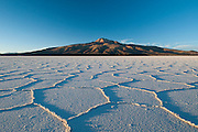 Salar of Uyuni salt desert, road towards Tunupa volcano (5.432 meters)