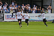 Ross Lafayette celebrates his goal, 3-2 during the Vanarama National League match between Dover Athletic and Forest Green Rovers at Crabble Athletic Ground, Dover, United Kingdom on 10 September 2016. Photo by Shane Healey.