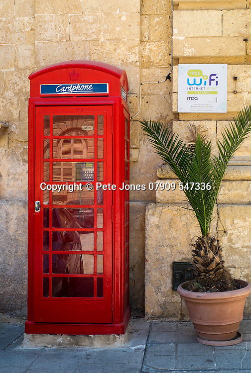 Red British phonebox in Mdina, Rabat;<br />